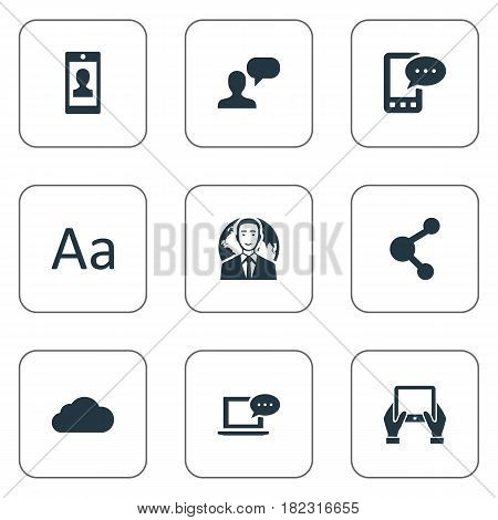 Vector Illustration Set Of Simple Newspaper Icons. Elements E-Letter, Man Considering, Cedilla And Other Synonyms International, Message And Phone.