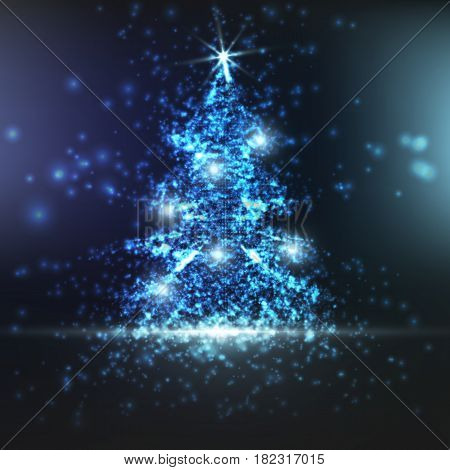 Shining christmas tree on blue background with backlight and glowing particles. Abstract vector background. Glowing fir-tree. Elegant shining background for you design. EPS 10