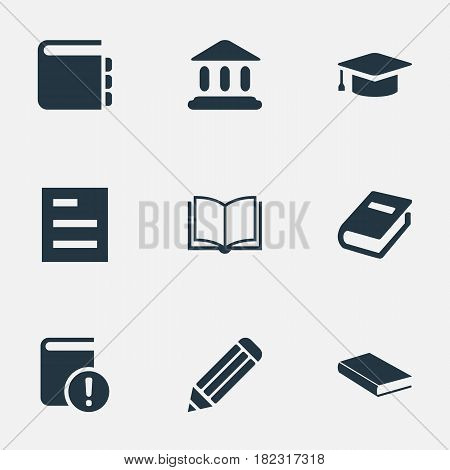 Vector Illustration Set Of Simple Reading Icons. Elements Blank Notebook, Pen, Academic Cap And Other Synonyms Pencil, Journal And Graduation.