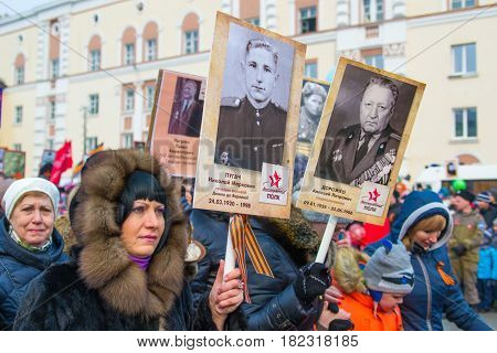 NORILSK, RUSSIA - MAY 9, 2016: Immortal regiment in Norilsk