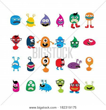 Cute Adorable Ugly Scarry Funny Mascot Monster Set