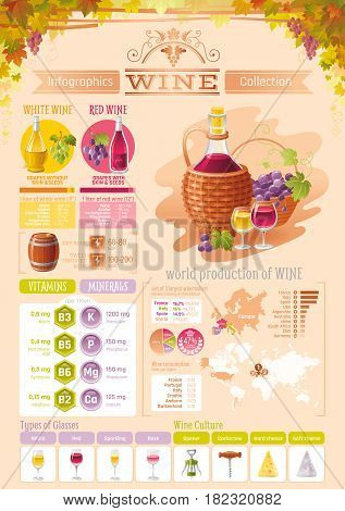 Wine, grapes food and drink infographics icons. Vector alcohol icon set, isolated background. Diagram flyer. Diet vitamin chart table, red, white, rose, glass, world map, vineyard. Flat illustration