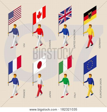 Set of isometric 3d people with flags of Group of Seven (G7) and European Union. Standard bearers infographic - USA, Canada, United Kingdom, Germany, France, Japan, Italy, EU.