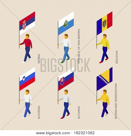 Set of isometric 3d people with flags of European countries. Standard bearers infographic - Serbia, San Marino, Moldova, Slovenia, Slovakia, Bosnia and Herzegovina.