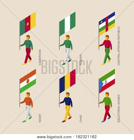 Set of 3d isometric people with flags of African countries. Standard bearers infographic - Niger, Nigeria, Chad, Equatorial Guinea, Cameroon, Central African Republic.