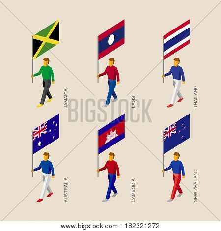 Set of isometric 3d people with flags. Standard bearers infographic - Cambodia, Australia, New Zealand, Laos, Thailand, Jamaica.