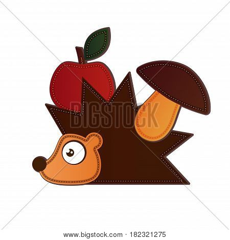 Hedgehog carrying apple and mushroom on a white background
