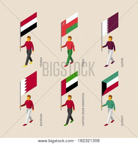 Set of isometric 3d people with flags. Standard bearers infographic - Yemen, Oman, Qatar, UAE, Kuwait, Bahrain