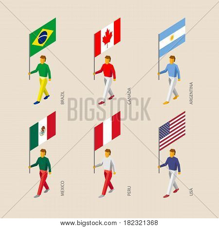 Set of isometric 3d people with flags. Standard bearers - Canada, USA, Argentina, Peru, Brazil, Mexico.