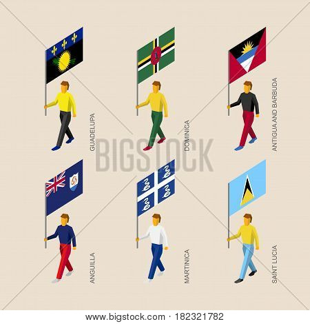 Set of 3d isometric people with flags of Caribbean countries. Standard bearers infographic - Guadelupa, Dominica, Antigua and Barbuda, Martinica, Saint Lucia, Anguilla
