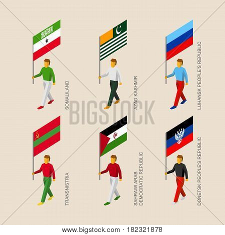 Set of 3d isometric people with flags of a disputed territories and partially recognized states. Standard bearers - Somaliland, Lugansk and Donetsk Republic, Western Sahara, Transnistria, Azad Kashmir