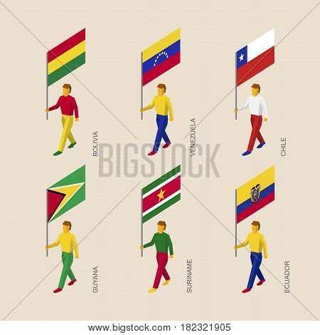 Set of 3d isometric people with flags of South America countries. Standard bearers infographic - Bolivia, Venezuela, Chile, Guyana, Suriname, Ecuador.