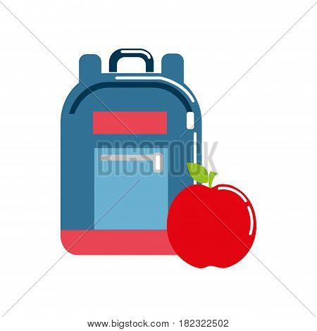 bag study tool with apple fruit, vector illustration