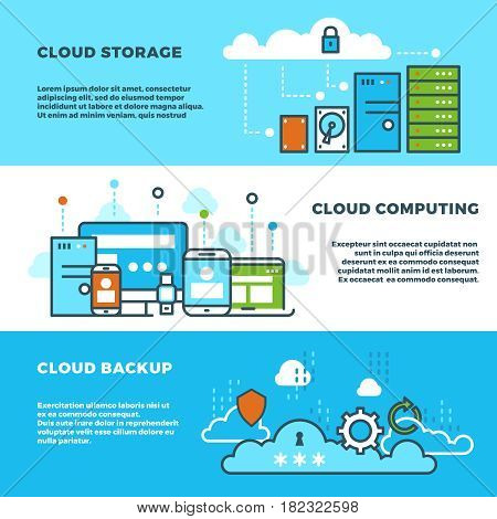 Cloud computing solution, data storage business services, information technology vector banners set. Cloud storage banner concept, illustration of cloud backup and computing