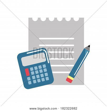 paper notebook with pencil and calculator tools, vector illustration