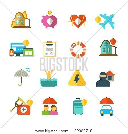 Long life insurance vector flat icons. Family money protection symbols. Insurance travel and family, illustration of insurance baggage