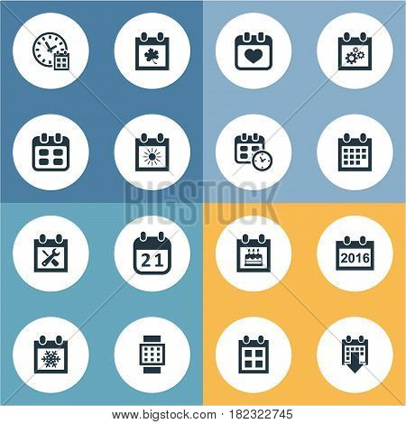 Vector Illustration Set Of Simple Plan Icons. Elements Date Block, Reminder, Special Day And Other Synonyms Wheel, Winter And Annual.