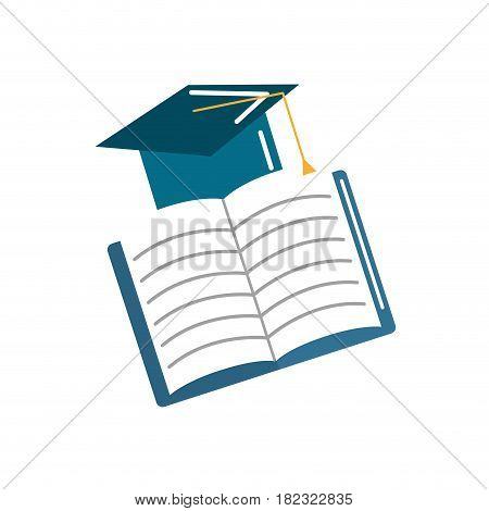 hat graduation with open notebook study, vector illustration
