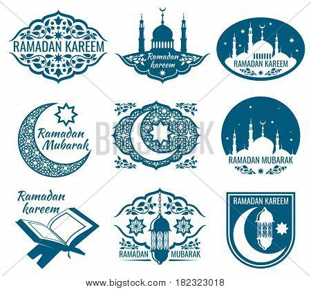 Ramadan kareem vector labels. Vintage badges with arabian islamic calligraphy. Set of label ramadan mubarak, illustration of religion holiday ramadan