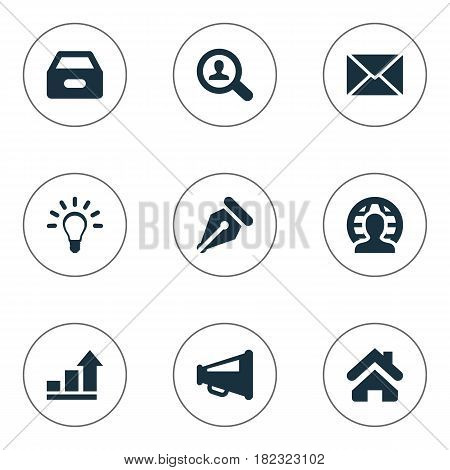 Vector Illustration Set Of Simple Business Icons. Elements Human, Home, Megaphone And Other Synonyms Box, Lamp And Increase.