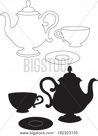 drawing of a Kettle cup and saucer - Black silhouette and line art