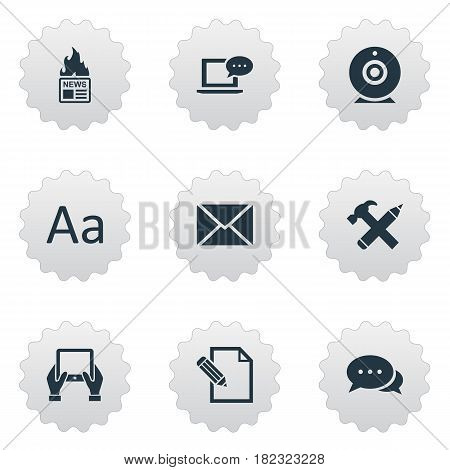 Vector Illustration Set Of Simple Blogging Icons. Elements Post, Gazette, Notepad And Other Synonyms Hand, Writing And Web.