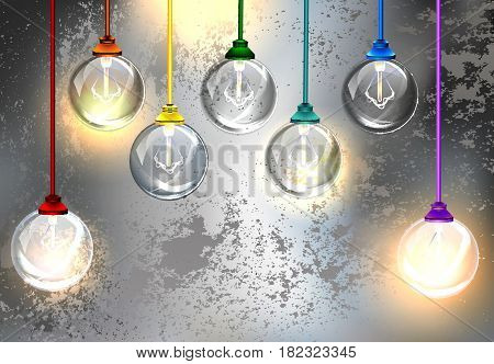 Round light bulbs on a gray background