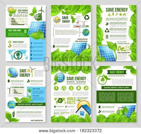 Save energy poster template set. Solar panel, wind turbine, green house, light bulb and globe with green leaf, recycle, tree and industrial plant symbols for green energy, ecology banner design