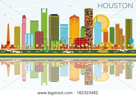 Houston Skyline with Color Buildings, Blue Sky and Reflections. Business Travel and Tourism Concept with Modern Buildings. Image for Presentation Banner Placard and Web Site.