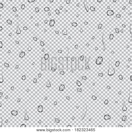 Realistic Water Drops on Transparent Background.