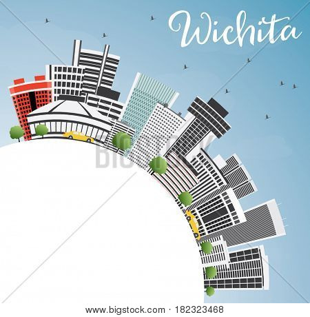 Wichita Skyline with Gray Buildings, Blue Sky and Copy Space. Business Travel and Tourism Concept with Modern Architecture. Image for Presentation Banner Placard and Web Site.