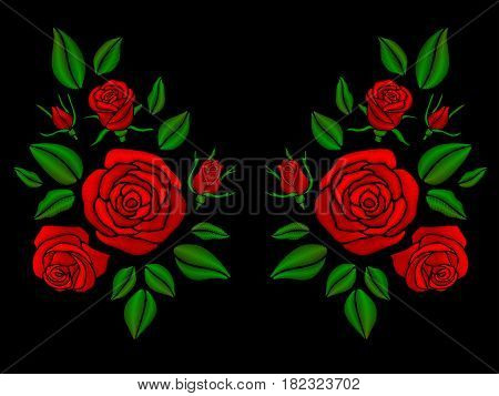 Ethnic floral neckline embroidery with roses vector illustration. Floral rose embroidery, illustration of ethnic fashion pattern rose