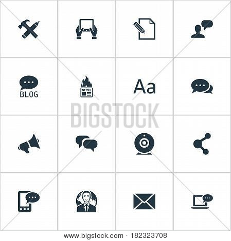 Vector Illustration Set Of Simple User Icons. Elements Gazette, Argument, E-Letter And Other Synonyms Coming, Missive And Camera.