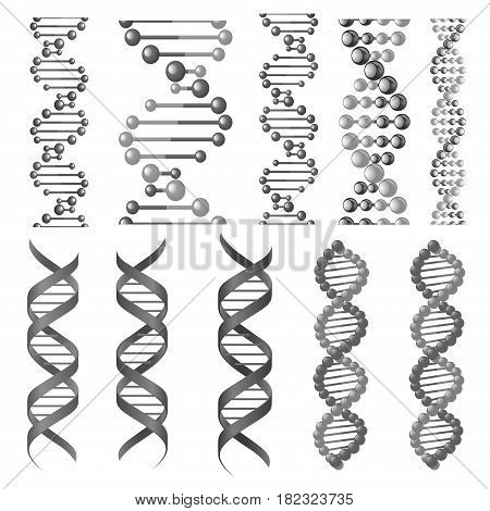 DNA or RNA helix vector isolated icons. Symbols of chromosome cell molecule, molecular chain of human genes or genome for genetics medical concept design or scientific research laboratory