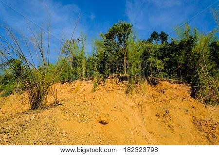 smuggle soil and rock mountain ground slide in thailand