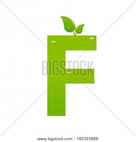 Green eco letter F illiustration on white