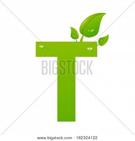 Green eco letter T illiustration on white