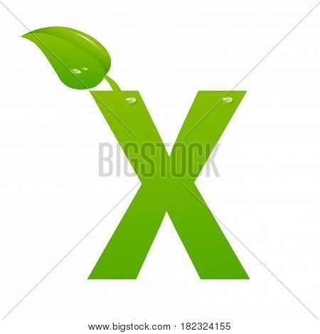 Green eco letter X illiustration on white background