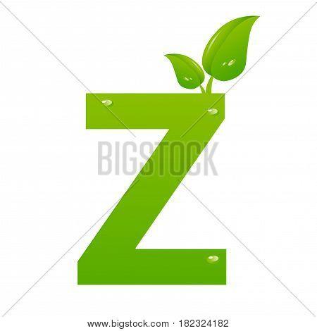 Green eco letter Z illiustration on white