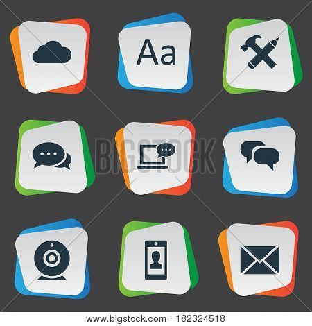Vector Illustration Set Of Simple Blogging Icons. Elements Laptop, Repair, Profile And Other Synonyms Broadcast, Hammer And Missive.