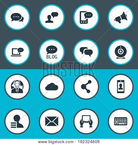 Vector Illustration Set Of Simple Blogging Icons. Elements Post, Site, Notepad And Other Synonyms Camera, Keypad And Site.