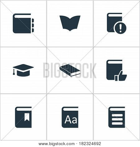 Vector Illustration Set Of Simple Reading Icons. Elements Recommended Reading, Reading, Notebook And Other Synonyms Graduation, Important And Dictionary.
