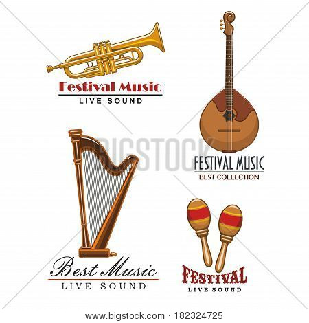Live music festival or sound concert vector icons. Isolated symbols templates set of musical instruments sax or saxophone trumpet, orchestra harp and maracas, string guitar or banjo