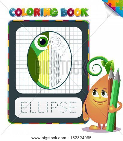 Coloring Book Geometric Form Ellipse