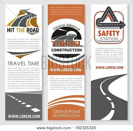 Road safety and tunnel construction alliance vector banners set. Highway transport and motorway repair service or travel and transportation or investment company design