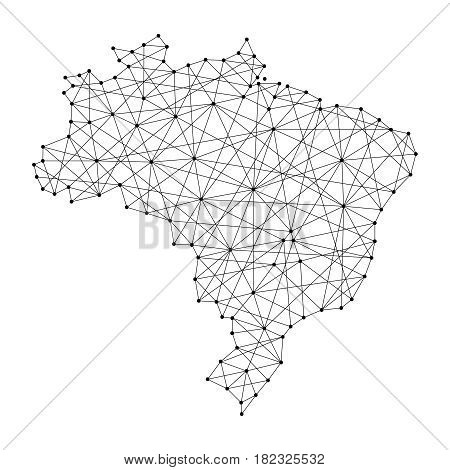 Map of Brazil from polygonal black lines and dots of vector illustration