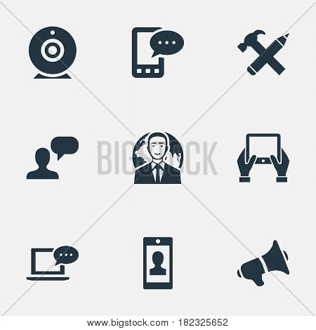 Vector Illustration Set Of Simple User Icons. Elements Loudspeaker, Laptop, Repair And Other Synonyms Smartphone, Web And Loudspeaker.