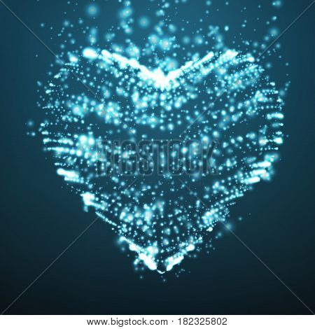 Abstract vector light blue background with glowing heart. Cloud of white shining points in the shape of a heart. Futuristic style card. Eps10