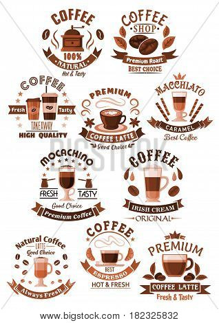 Coffee vector icons for coffeeshop, cafe and cafeteria. Isolated symbols of coffee makers and beans, cups of hot drinks strong espresso, americano frappe or chocolate desserts for coffeehouse design