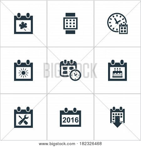 Vector Illustration Set Of Simple Date Icons. Elements Deadline, Date, Intelligent Hour And Other Synonyms Annual, Hour And Day.